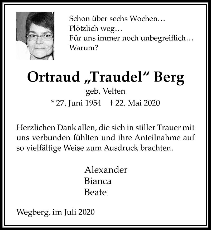 Anzeige von  Ortraud Berg