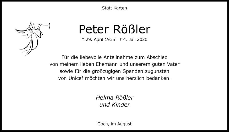 Traueranzeige für Peter Rößler vom 01.08.2020 aus Rheinische Post
