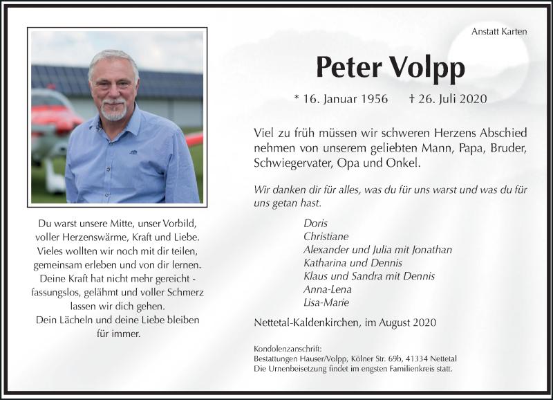 Anzeige von  Peter Volpp