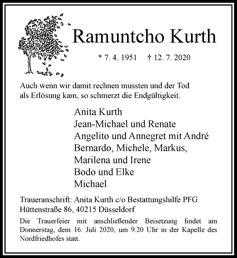 Traueranzeige für Ramuntcho Kurth vom 15.07.2020 aus Rheinische Post