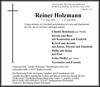 Traueranzeige von Reiner Holzmann von Rheinische Post
