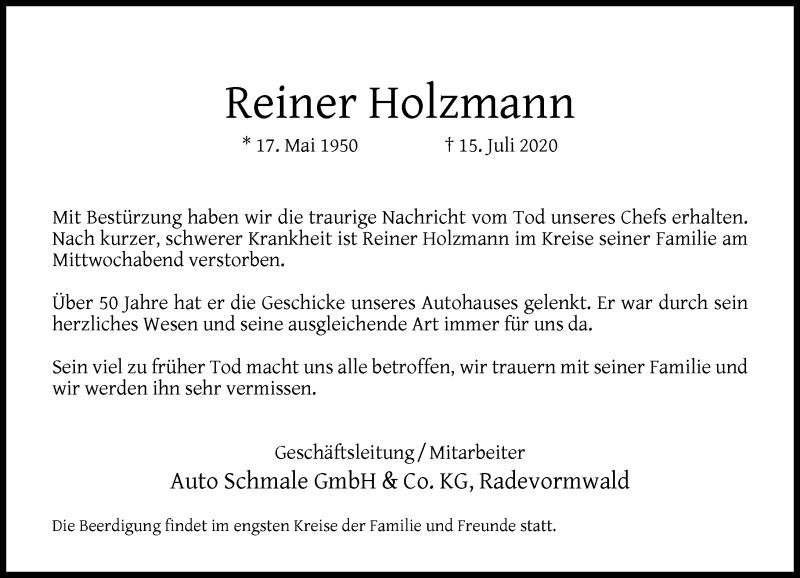 Traueranzeige für Reiner Holzmann vom 21.07.2020 aus Rheinische Post