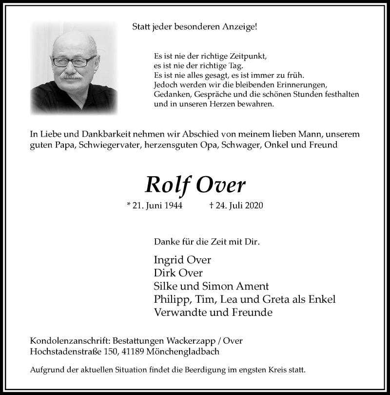 Traueranzeige für Rolf Over vom 01.08.2020 aus Rheinische Post