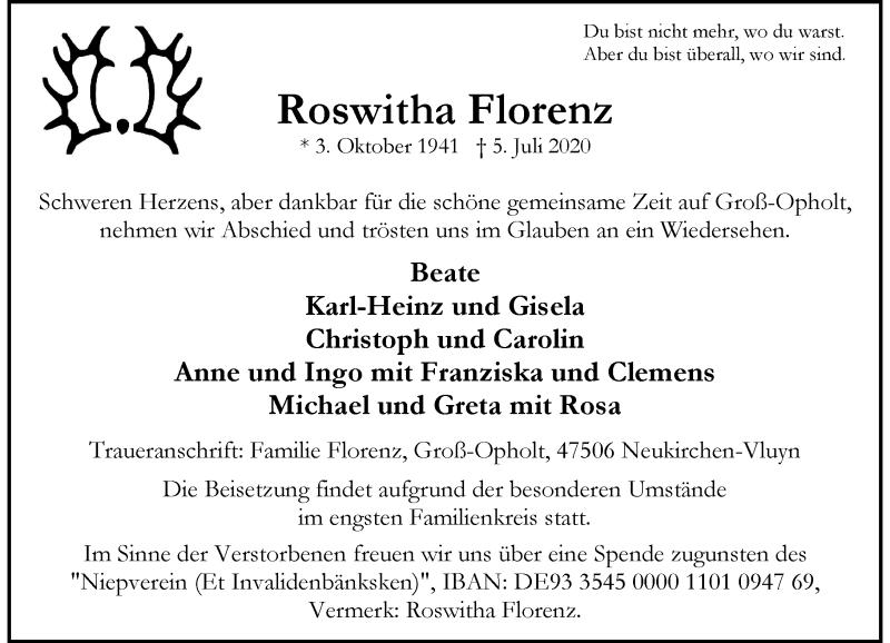 Traueranzeige für Roswitha Florenz vom 08.07.2020 aus Rheinische Post
