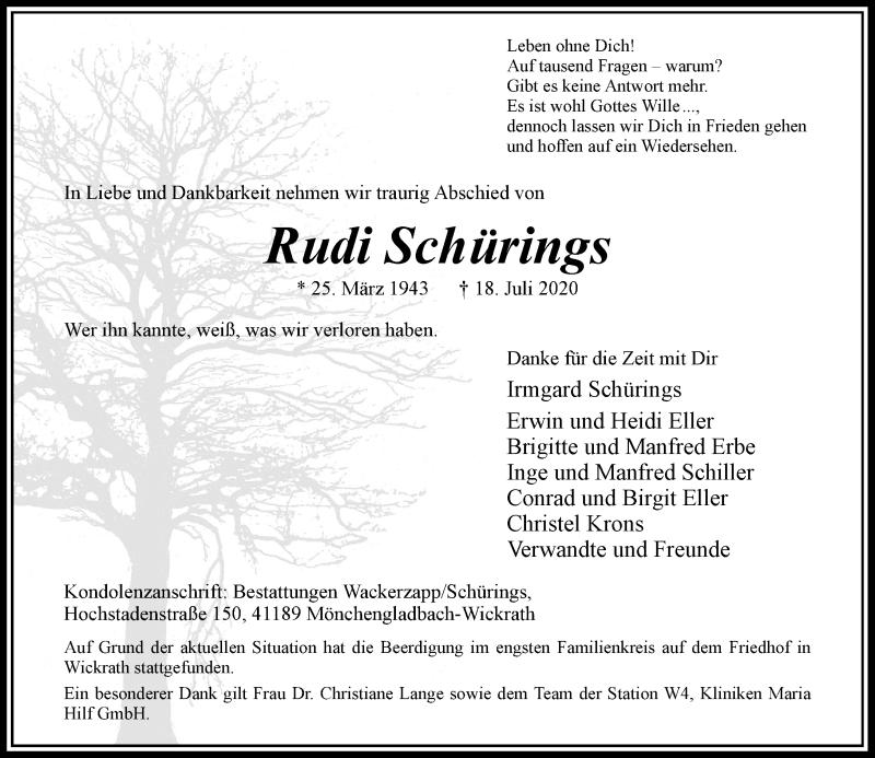 Traueranzeige für Rudi Schürings vom 01.08.2020 aus Rheinische Post