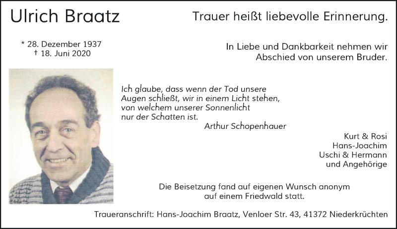 Traueranzeige für Ulrich Braatz vom 04.07.2020 aus Rheinische Post