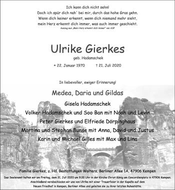 Traueranzeige von Ulrike Gierkes von Rheinische Post