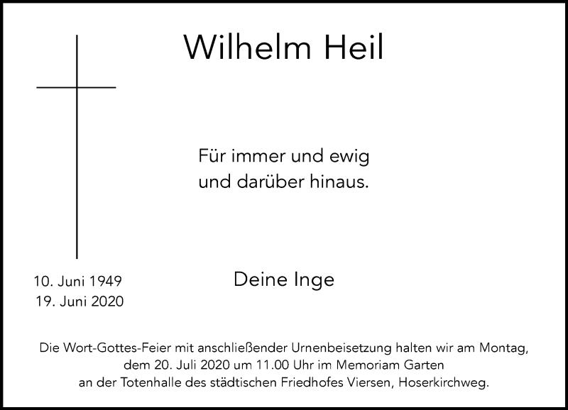 Traueranzeige für Wilhelm Heil vom 11.07.2020 aus Rheinische Post