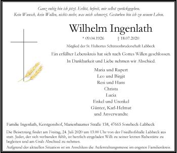 Traueranzeige von Wilhelm Ingenlath von Rheinische Post