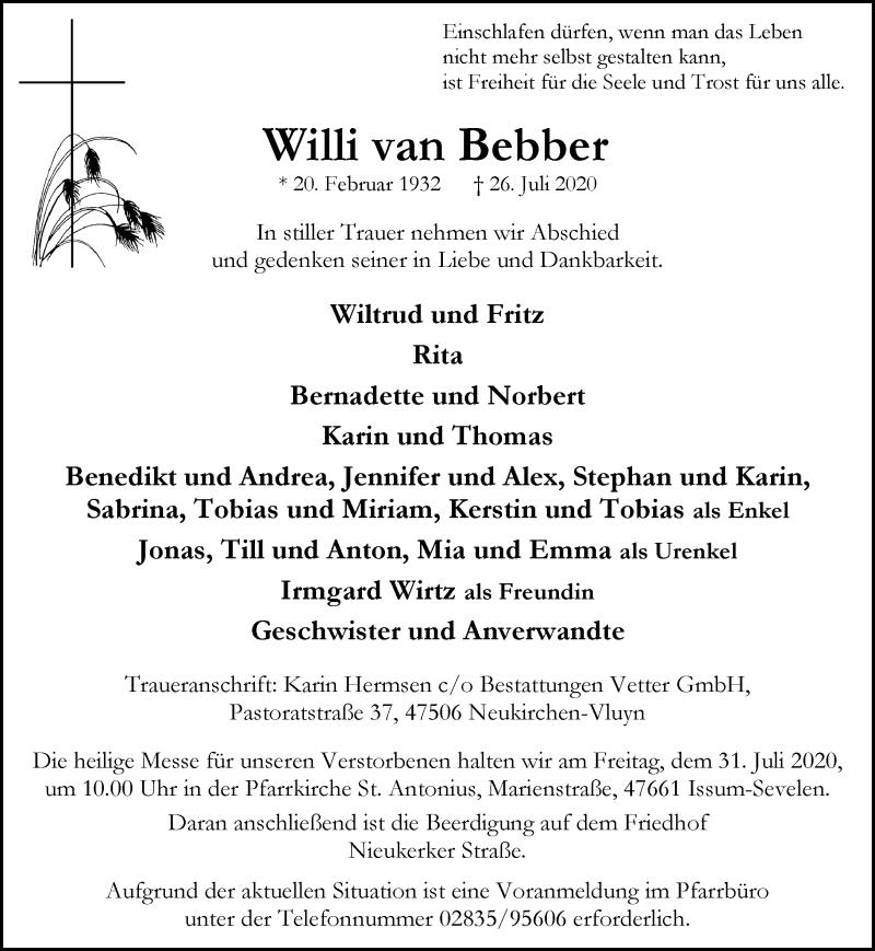 Traueranzeige für Willi van Bebber vom 29.07.2020 aus Rheinische Post