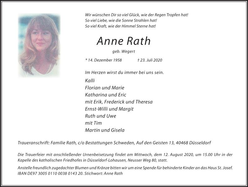 Traueranzeige für Anne Rath vom 01.08.2020 aus Rheinische Post