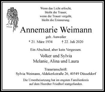 Traueranzeige von Annemarie Weimann von Rheinische Post