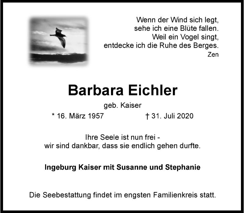 Traueranzeige für Barbara Eichler vom 08.08.2020 aus Rheinische Post