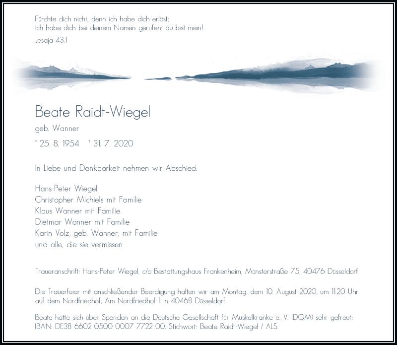 Traueranzeige für Beate Raidt-Wiegel vom 08.08.2020 aus Rheinische Post
