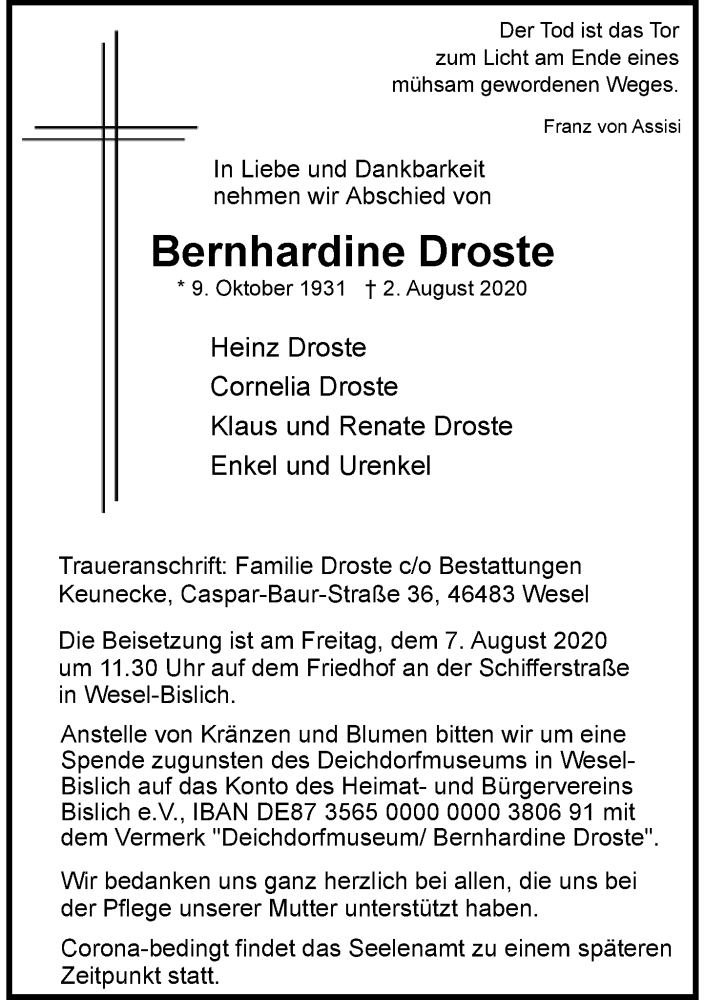 Traueranzeige für Bernhardine Droste vom 05.08.2020 aus Rheinische Post