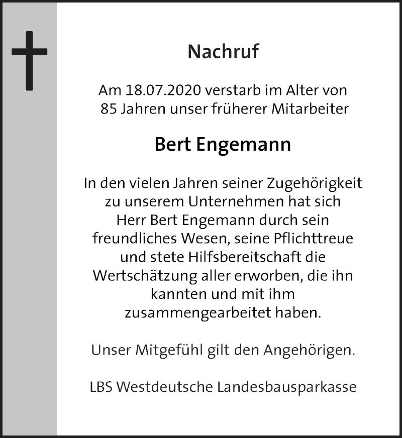 Traueranzeige für Bert Engemann vom 04.08.2020 aus Rheinische Post