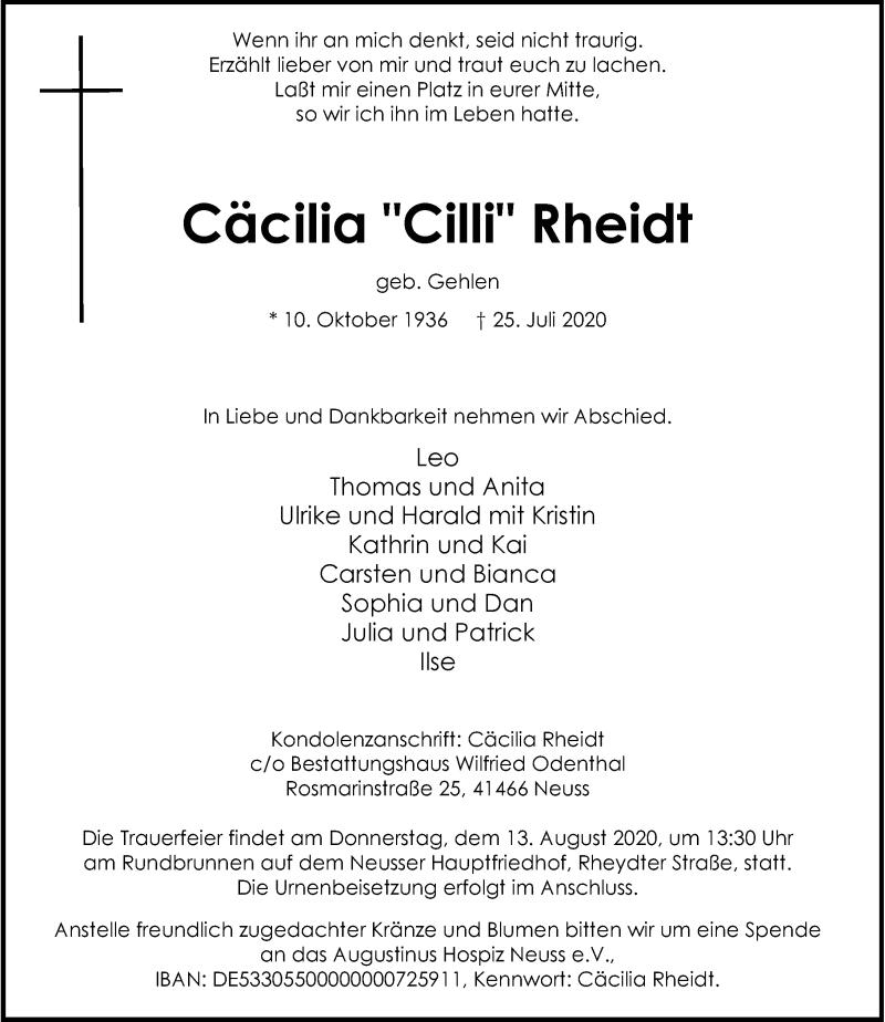 Traueranzeige für Cäcilia  Rheidt vom 08.08.2020 aus Rheinische Post