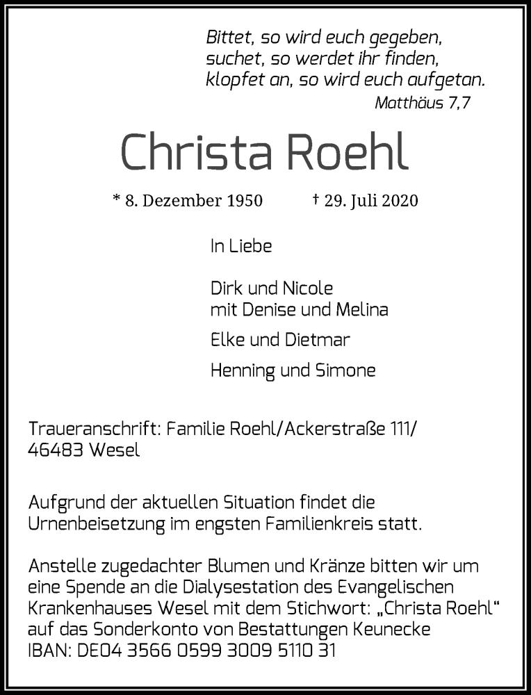 Traueranzeige für Christa Roehl vom 08.08.2020 aus Rheinische Post