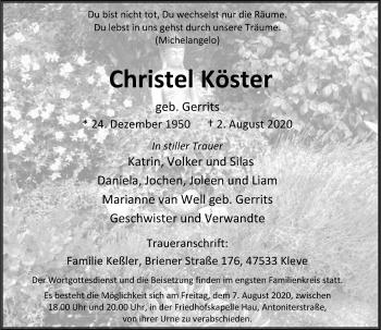 Traueranzeige von Christel Köster von Rheinische Post