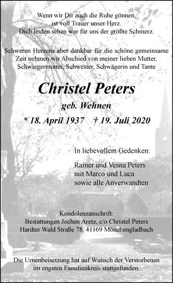 Traueranzeige von Christel Peters von Rheinische Post