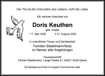 Traueranzeige von Doris Keuthen von Rheinische Post
