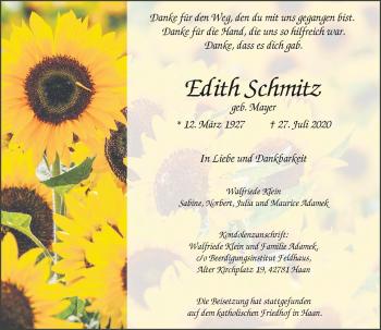 Traueranzeige von Edith Schmitz von Rheinische Post