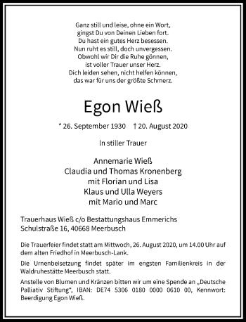 Traueranzeige von Egon Wieß von Rheinische Post