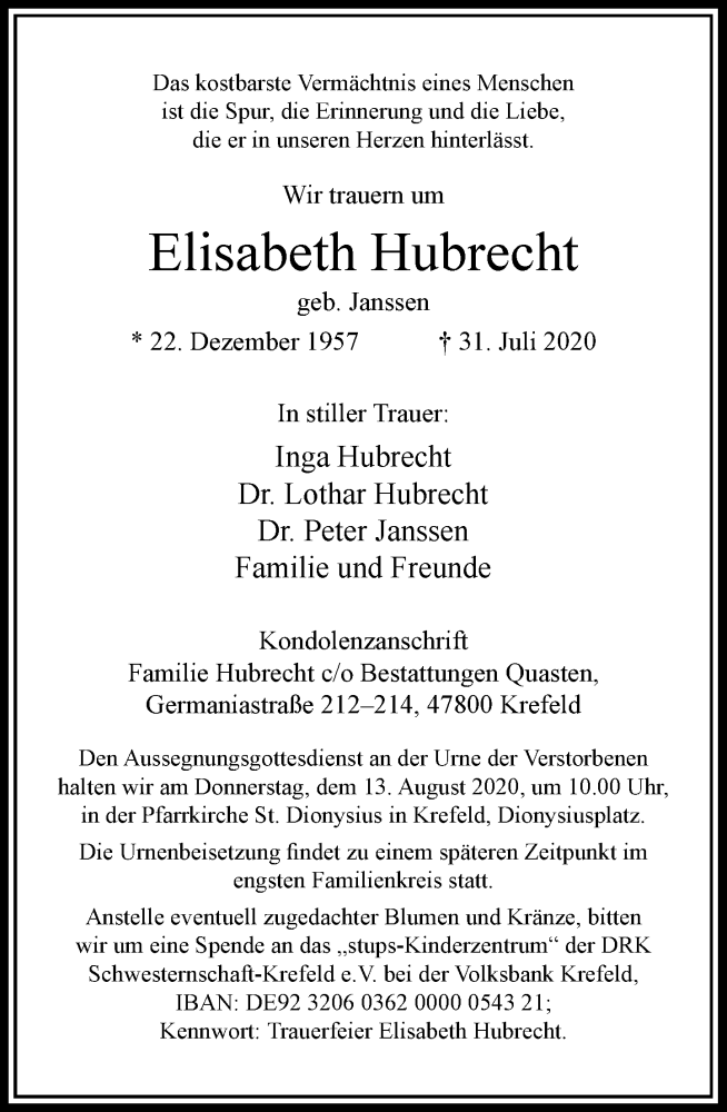Traueranzeige für Elisabeth Hubrecht vom 08.08.2020 aus Rheinische Post