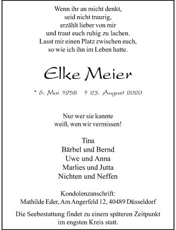 Traueranzeige von Elke Meier von Rheinische Post