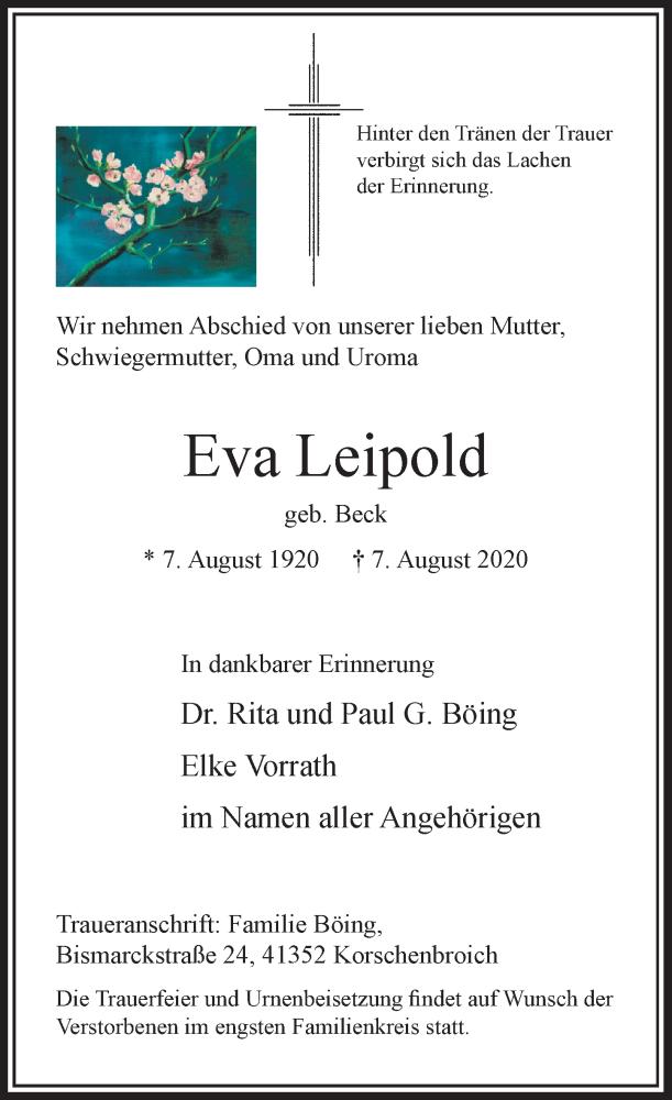 Traueranzeige für Eva Leipold vom 22.08.2020 aus Rheinische Post