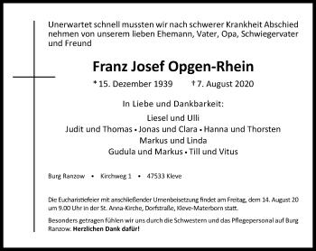 Traueranzeige von Franz Josef Opgen-Rhein von Rheinische Post