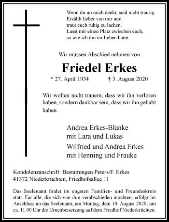 Traueranzeige von Friedel Erkes von Rheinische Post