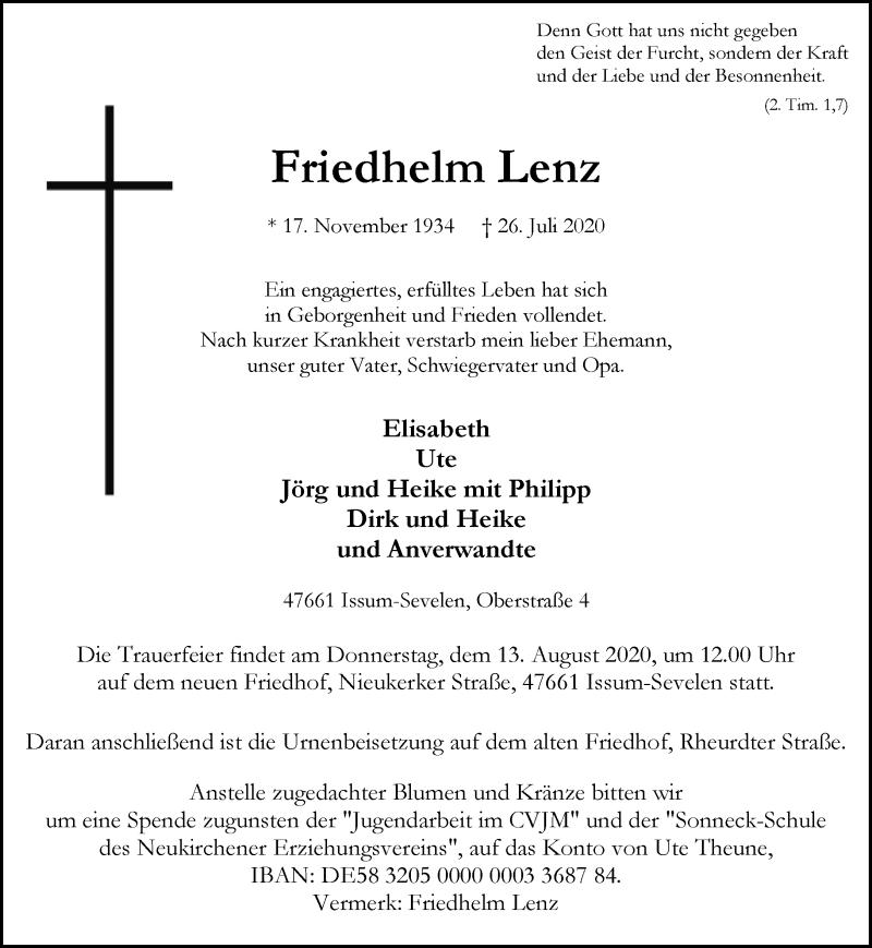 Traueranzeige für Friedhelm Lenz vom 10.08.2020 aus Rheinische Post