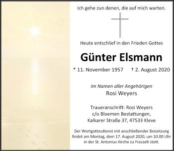 Traueranzeige von Günter Elsmann von Rheinische Post