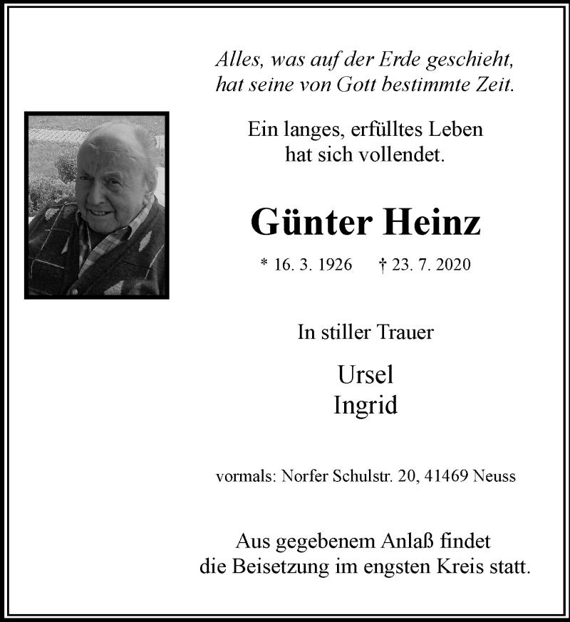 Traueranzeige für Günter Heinz vom 08.08.2020 aus Rheinische Post