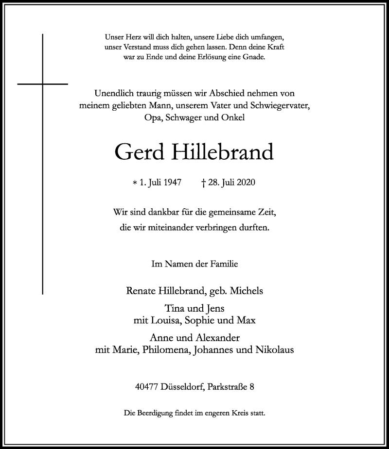 Anzeige von  Gerd Hillebrand