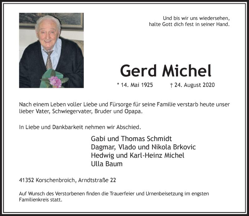 Traueranzeige für Gerd Michel vom 29.08.2020 aus Rheinische Post