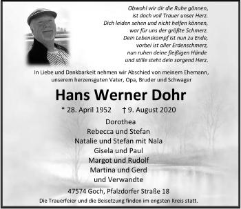 Traueranzeige von Hans Werner Dohr von Rheinische Post