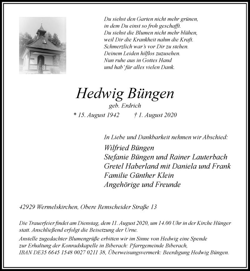 Traueranzeige für Hedwig Büngen vom 06.08.2020 aus Rheinische Post