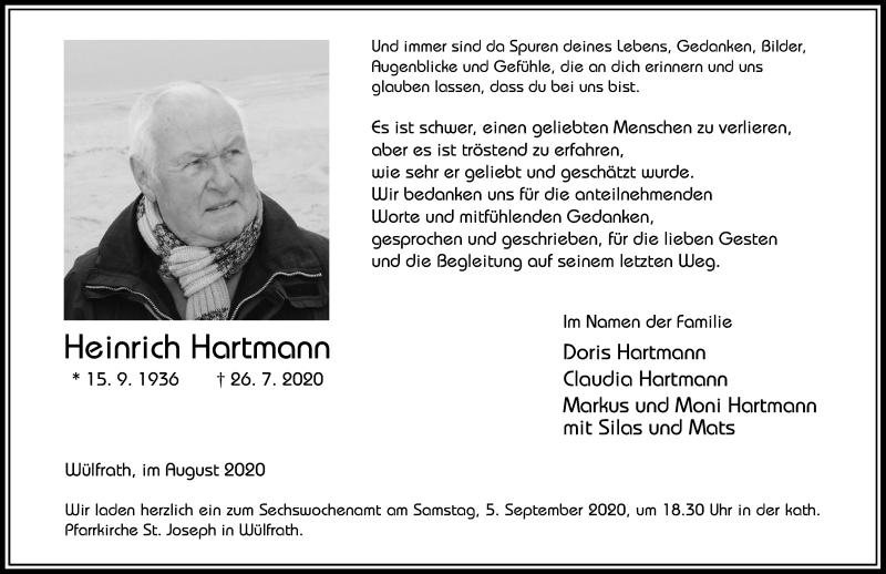 Traueranzeige für Heinrich Hartmann vom 28.08.2020 aus Rheinische Post