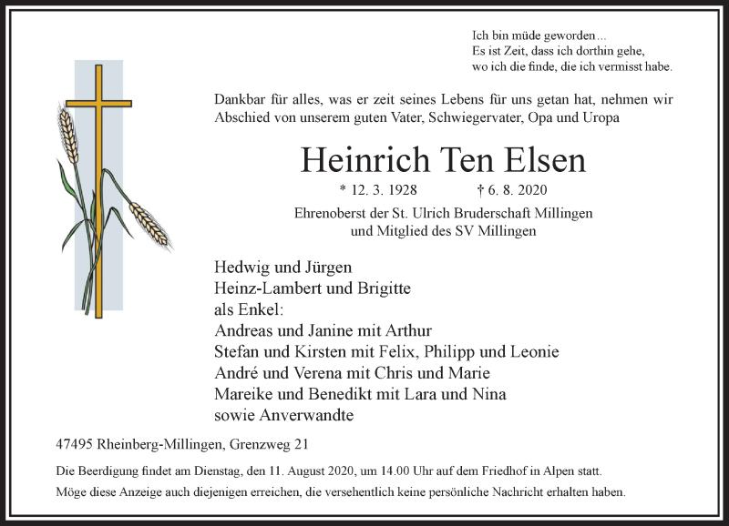 Traueranzeige für Heinrich  Ten Elsen vom 08.08.2020 aus Rheinische Post