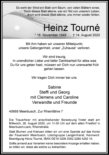 Traueranzeige von Heinz Tourné von Rheinische Post