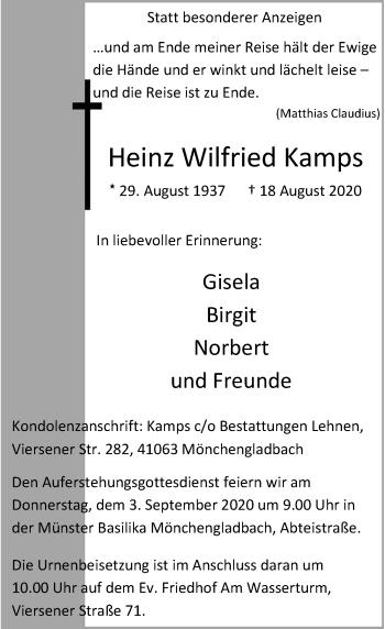 Traueranzeige von Heinz Wilfried Kamps von Rheinische Post