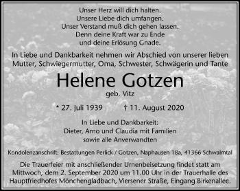 Traueranzeige von Helene Gotzen von Rheinische Post
