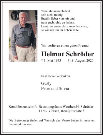Traueranzeige von Helmut Schröder von Rheinische Post