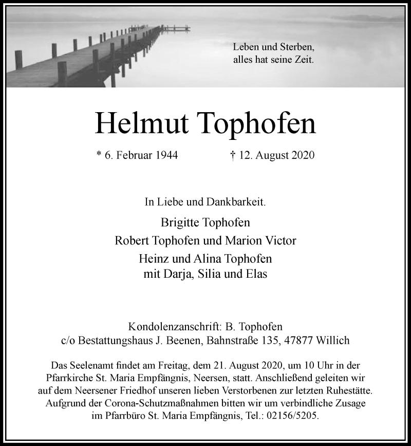 Traueranzeige für Helmut Tophofen vom 15.08.2020 aus Rheinische Post