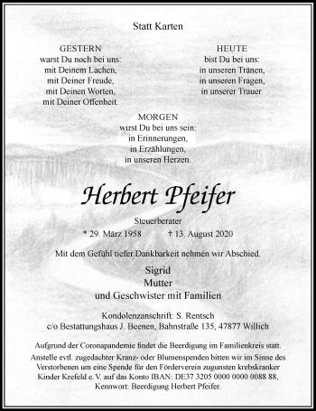 Traueranzeige von Herbert Pfeifer von Rheinische Post