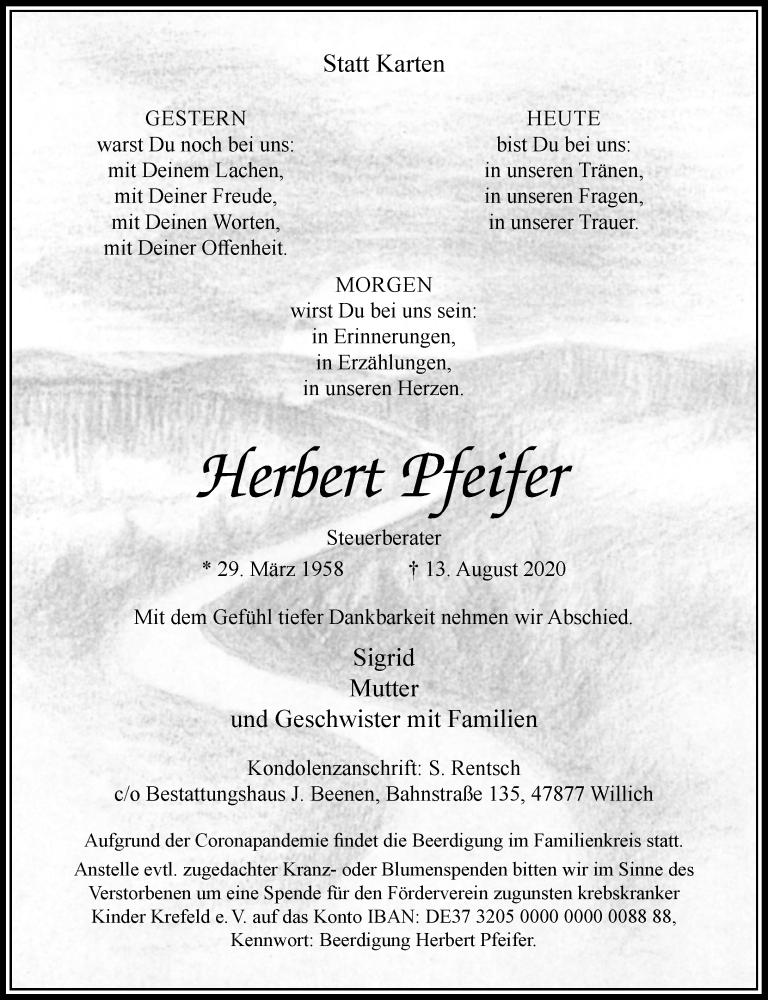 Traueranzeige für Herbert Pfeifer vom 22.08.2020 aus Rheinische Post
