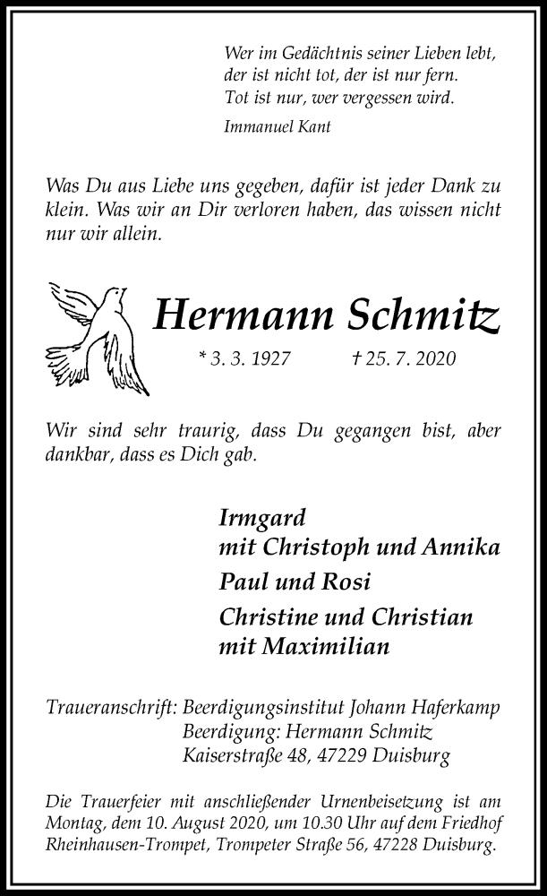 Traueranzeige für Hermann Schmitz vom 01.08.2020 aus Rheinische Post