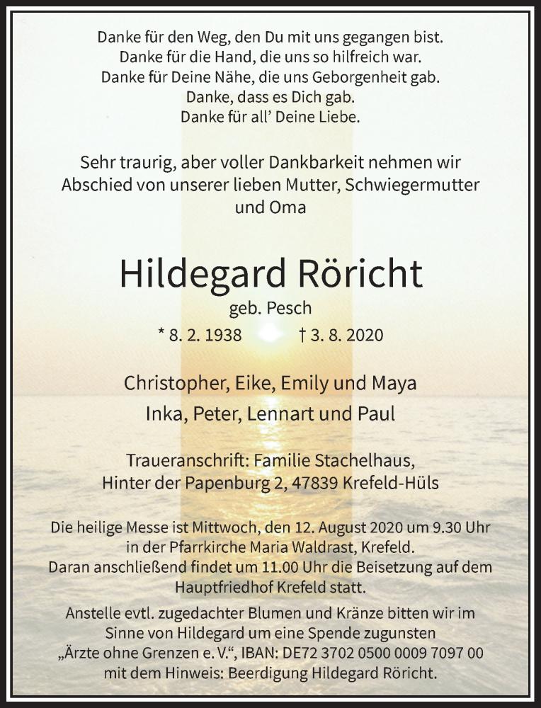 Traueranzeige für Hildegard Röricht vom 08.08.2020 aus Rheinische Post